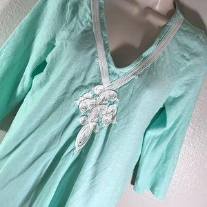 Lilly Pulitzer blue embroidered detail tunic